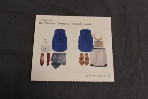 The style card with the Bell Chevron Textured Tie-Neck Blouse.