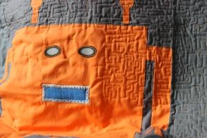 I used orange thread in the bobbin.