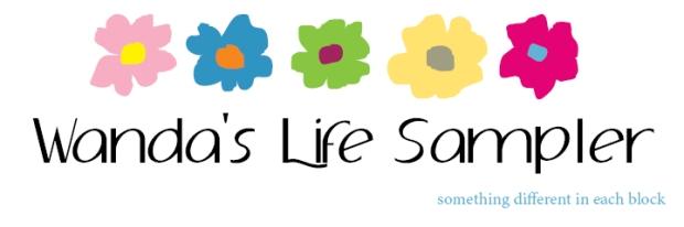 Logo Wanda's Life Sampler logo with adolphus 60 text