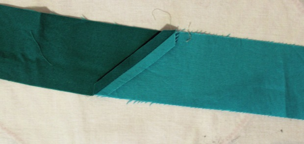 sew strips together on diagonal