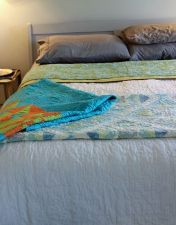 Day Nineteen 4-21-18 quilts on a bed